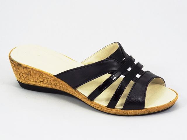 Papuci dama piele negri Aline