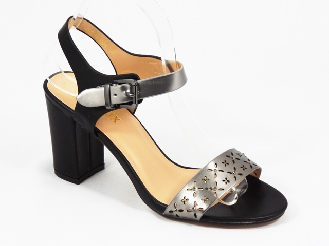 Sandale dama negre cu argintiu Karyn