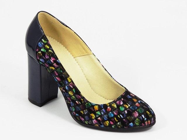 Pantofi dama piele bleumarin cu negru Cory2