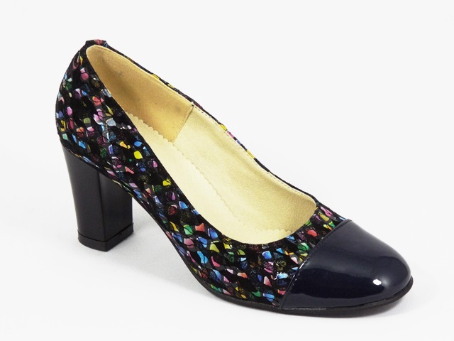 Pantofi dama piele negru cu bleumarin Cory2