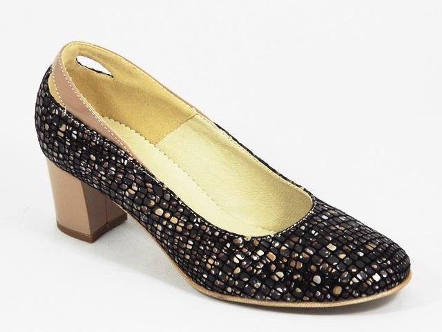 Pantofi dama piele negri cu bej Roxy