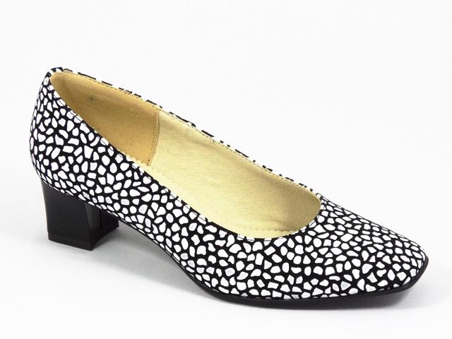 Pantofi dama piele negri cu alb Nadyna
