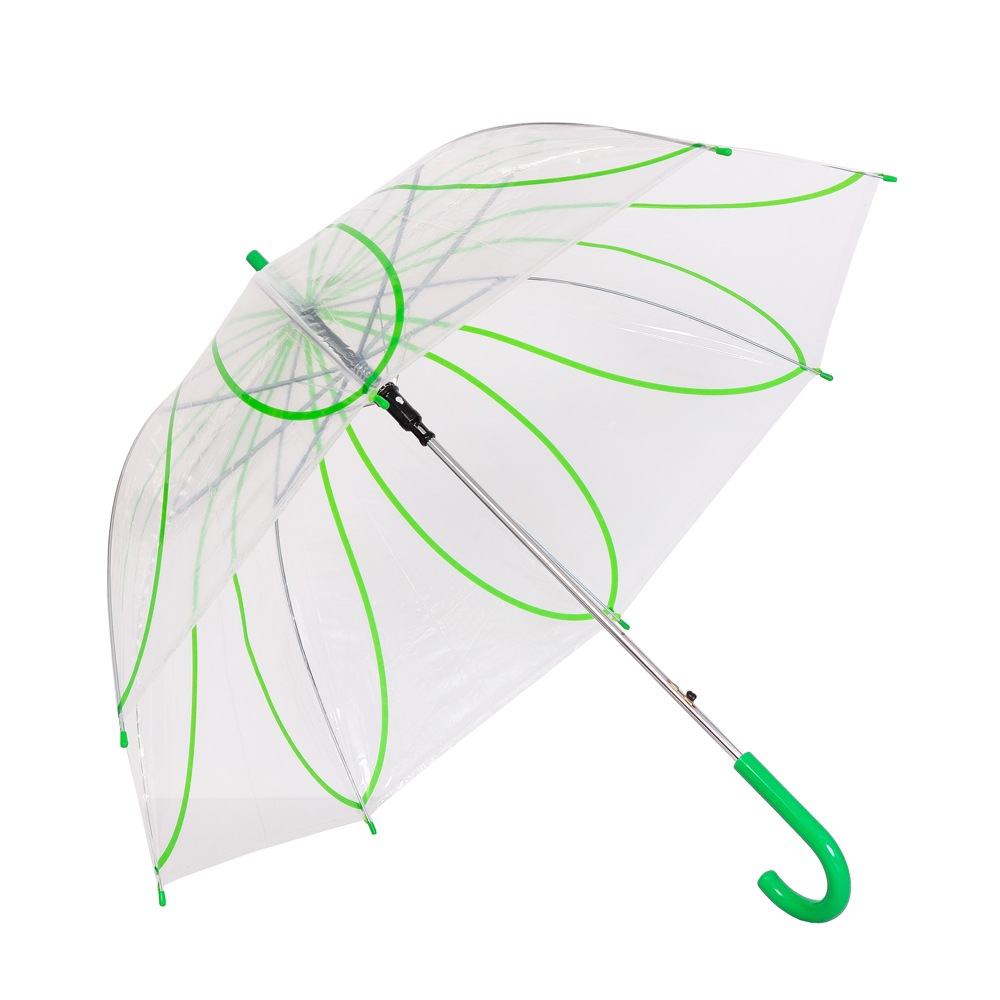 Umbrela dama transparenta cu verde Ana