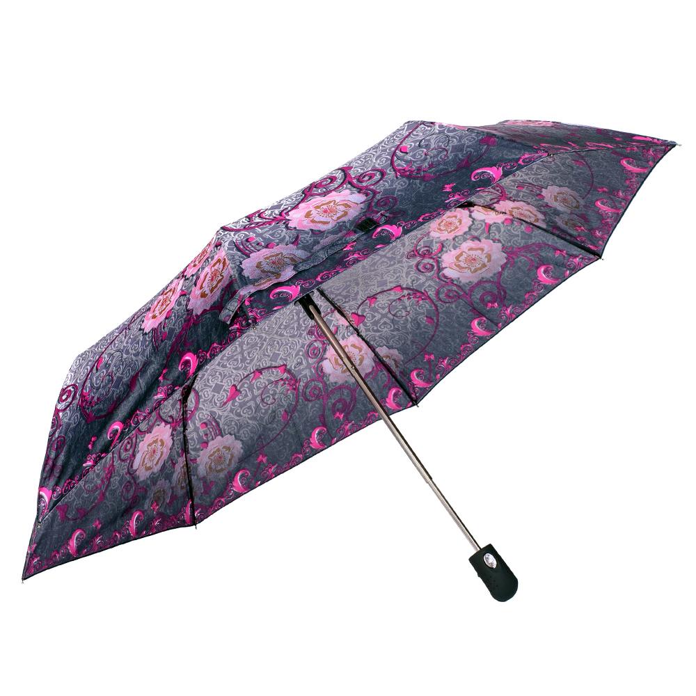 Umbrela dama automata gri cu roz Sina