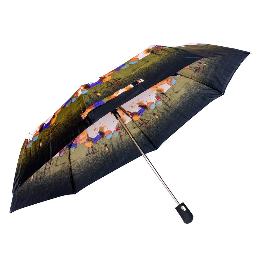 Umbrela dama automata negru cu khaki Sina