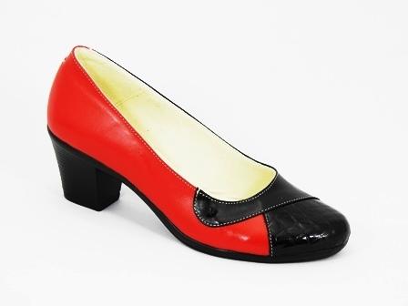 Pantofi dama piele rosii cu negru Dorina