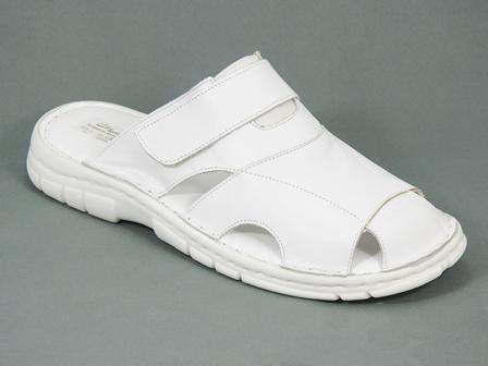 Papuci barbati piele medicinali albi Leon