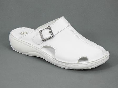 Papuci dama piele medicinali albi Zoia