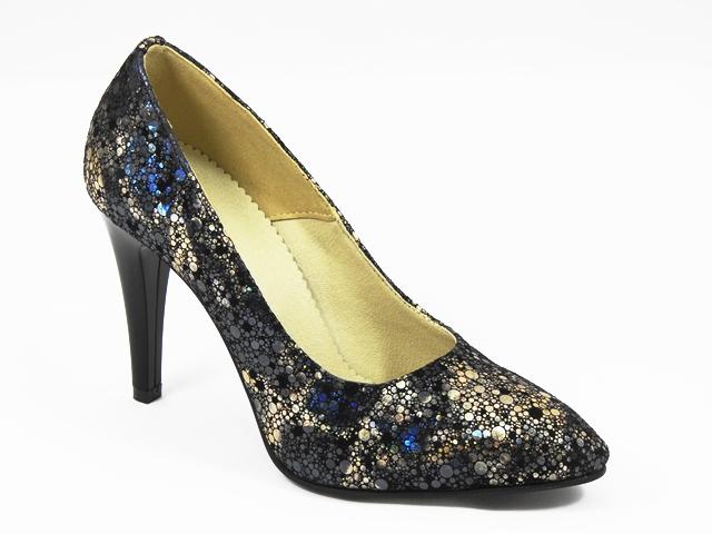 Pantofi dama piele intoarsa neagra pastel Elektra