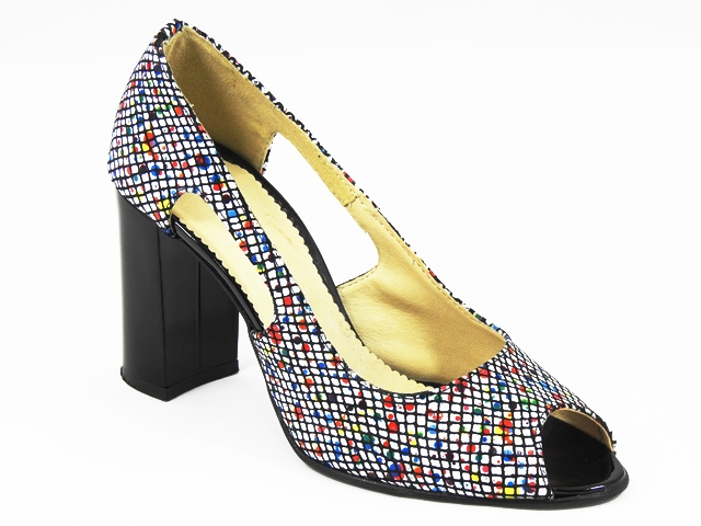 Pantofi dama piele albi aplicatii pastel Dora