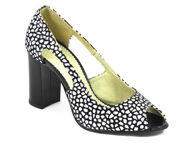 Pantofi dama piele alb cu negru Jana