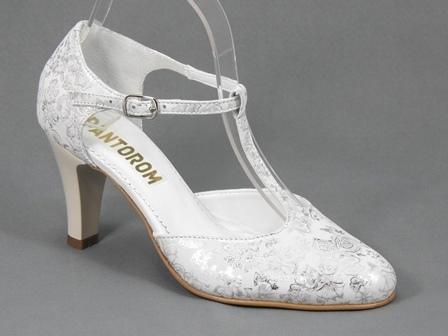 Pantofi dama piele albi cu aplicatii argintii Flore