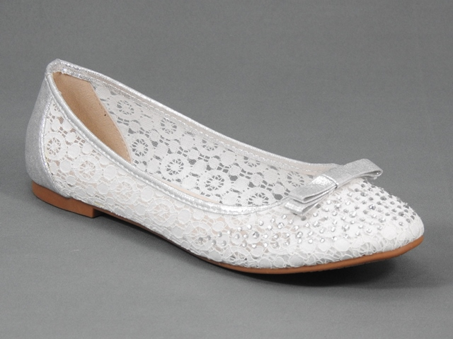 Balerini dama alb cu argintiu Carla