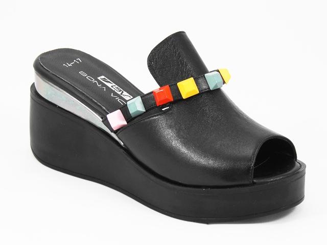 Papuci dama piele negri pastel stil sabot Saryna