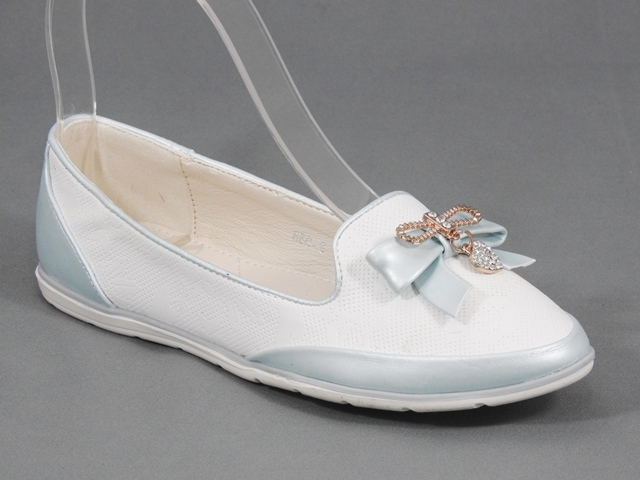 Pantofi fetite alb cu bleu Ana