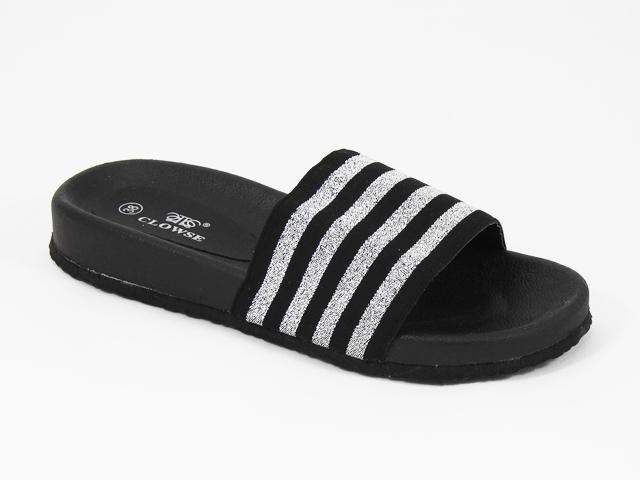 Papuci dama negri cu argintiu Rody