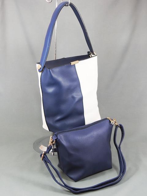 Geanta dama albastra cu alb 2 in 1 Ariana