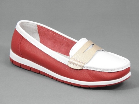 Pantofi dama piele rosu cu alb Tatiana