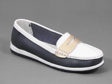 Pantofi dama piele albastru inchis cu alb Tatiana