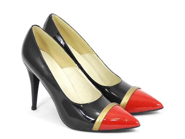 Pantofi dama piele negri stiletto Gloria