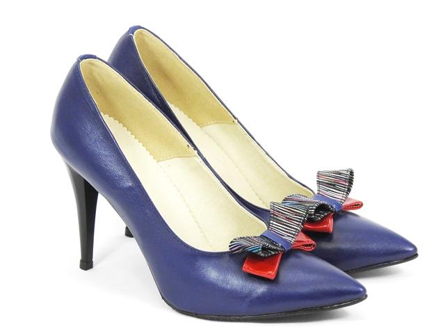 Pantofi dama piele albastri stiletto Elvira