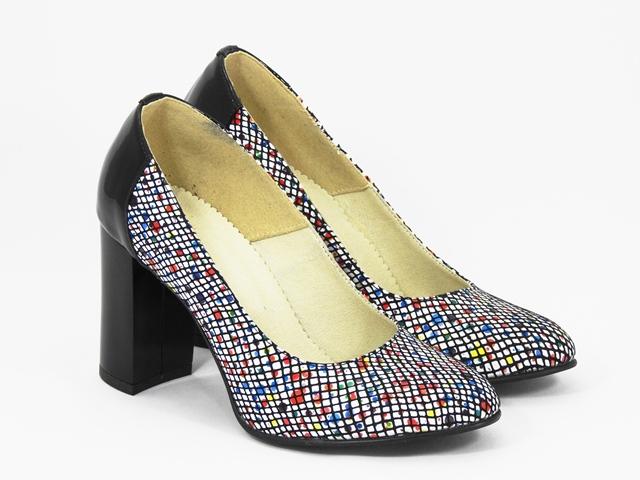 Pantofi dama piele albi cu negru Sofia