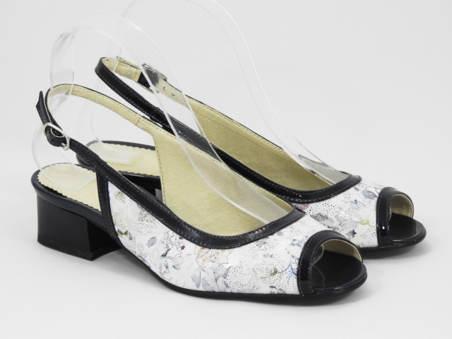 Sandale dama piele alb cu negru Lara
