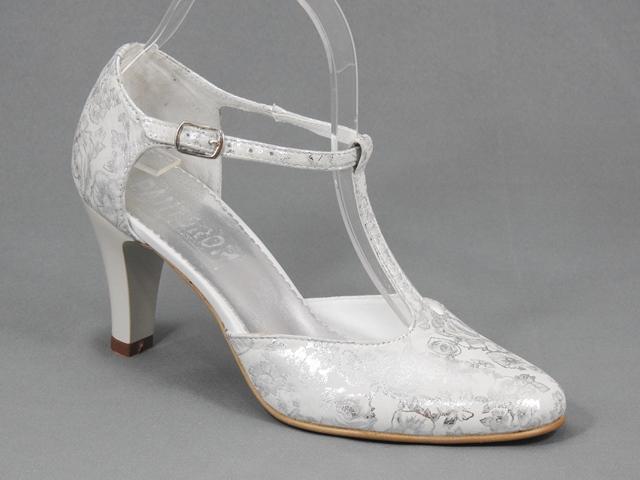 Pantofi dama piele albi cu argintiu Teodora