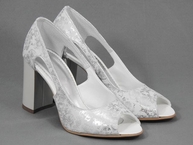 Pantofi dama piele albi cu argintiu Alesia
