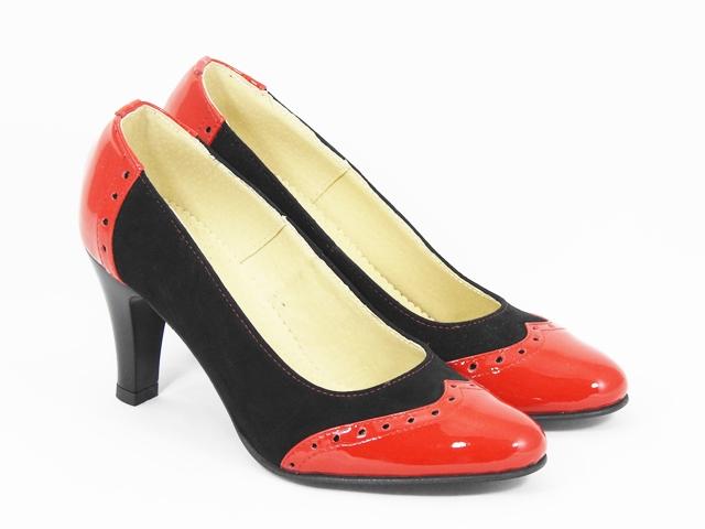 Pantofi dama piele rosu cu negru Hanna