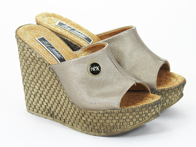 Papuci dama bronz aurii Aline