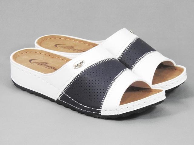 Papuci dama albi cu negru Elba