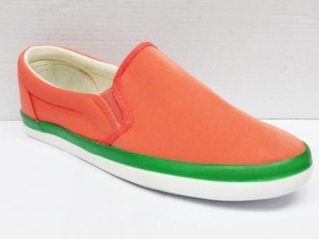 Espadrile dama portocalii, cu margine de culoare verde, material textil