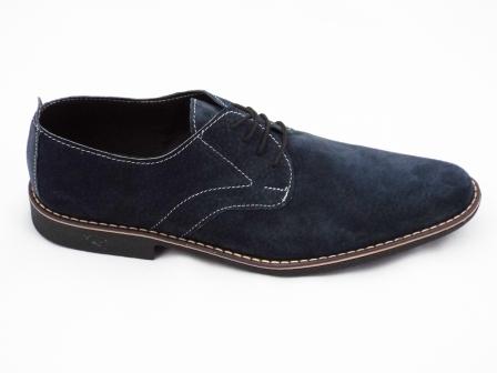 Pantofi barbati albastru inchis din piele intoarsa premium, cu talpa comfortabila cu toc