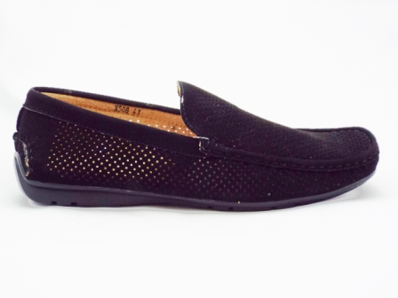 Pantofi barbati negri, perforati, imitatie piele intoarsa