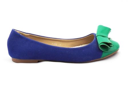 Balerini dama albastrii cu insertii de verde, cu talpa comfortabila.