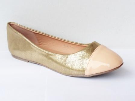 Balerini dama aurii cu varf de culoare bej