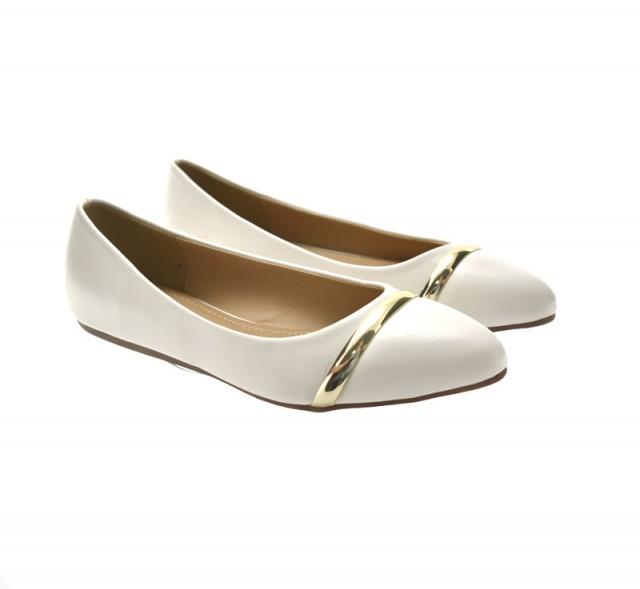 Imagine indisponibila pentru Balerini dama albi cu accesoriu auriu