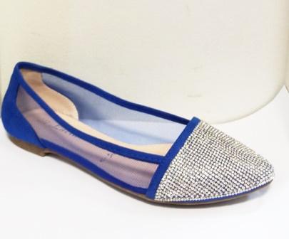 Balerini dama albastri din panza transparenta fina cu accesorii frontale argintii