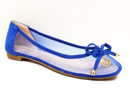 Balerini dama albastri din panza transparenta fina cu accesoriu tip funda