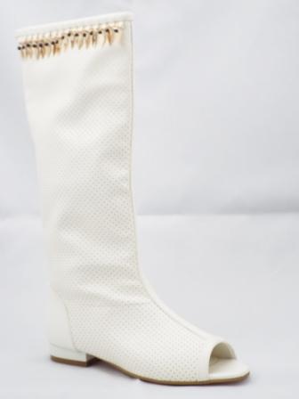 Cizme dama albe de vara, inalte, material perforat