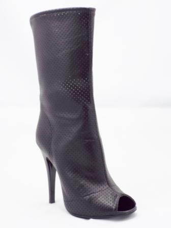 Cizme dama negre de vara, material perforat, cu toc de 9 cm