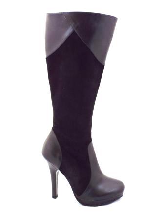 Cizme dama negre elegante CORY , din piele naturala (piele intoarsa & lacuita), cu fermoar lateral si toc inalt.