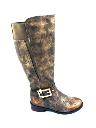 Cizme dama kaki elegante MELO, cu fermoar lateral.