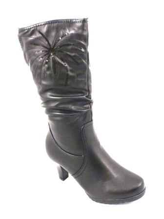 Cizme dama negre elegante RENDY, cu fermoar lateral si toc de inaltime medie.