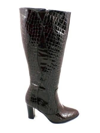Cizme dama maro elegante ROMA CROCO, din piele naturala (piele lacuita), cu fermoar lateral.