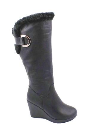 Cizme dama negre elegante SWAY , cu blanita, talpa ortopedica si fermoar lateral.