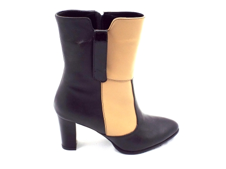 Ghete dama negre/bej Roma elegante din piele naturala, cu toc de inaltime mica si fermoar lateral