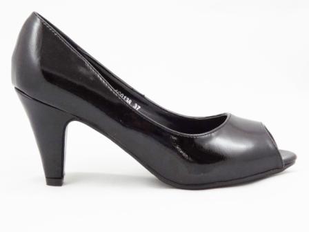 Pantofi dama negri , cu toc de 5 cm,eleganti, decupati in fata