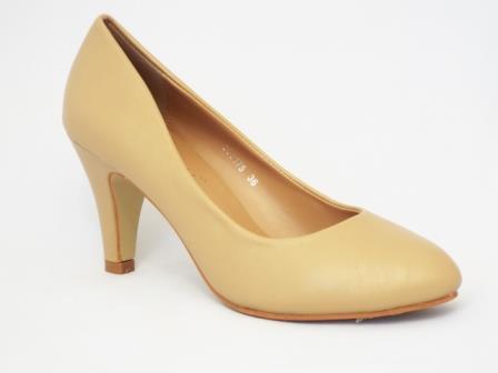Pantofi dama bej, eleganti, cu toc de inaltime medie